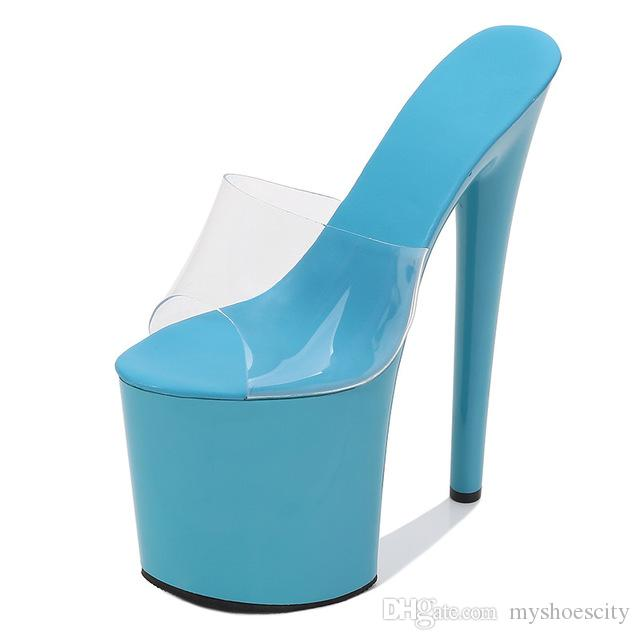 size 34 to 43 multi colorful PVC transparent ultra high heels platfom designer shoes women nightclub party dance shoes
