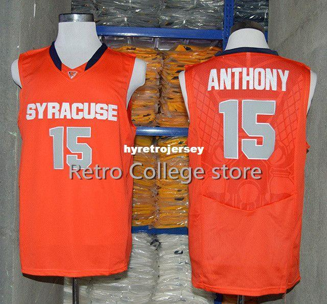 separation shoes c8f24 360e6 #15 Carmelo Anthony Syracuse Orange College Top Jersey Retro Basketball  Jersey New Material Top quality embroidery jersey vest Jerseys