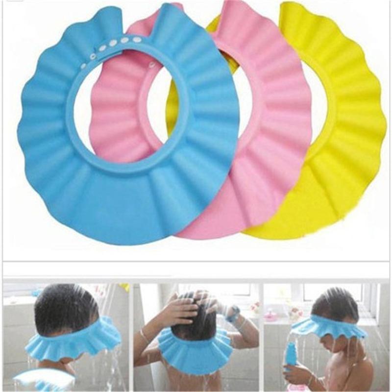 f56cfa90388 2019 Safe Baby Shower Cap Kids Bath Visor Hat Adjustable Baby Shower ...