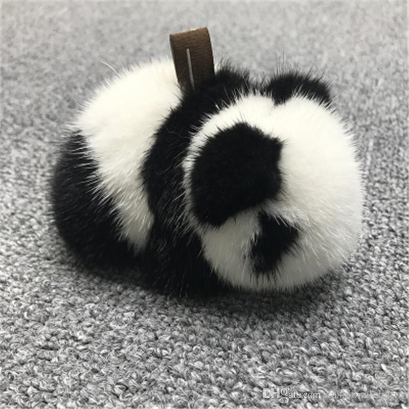11cm Cute Real Genuine Fur Panda Bear Pompom Ball Bag Charm Key Chain Keyring Accessories Phone Purse Handbag