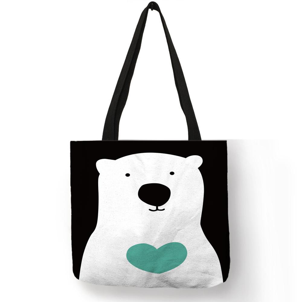Mignon Coeur Ours Imprimé Lin Tote Bag Pliage Réutilisable Sacs À Main Pour Femmes Sacs À Main En Tissu Voyager Plage Sacs