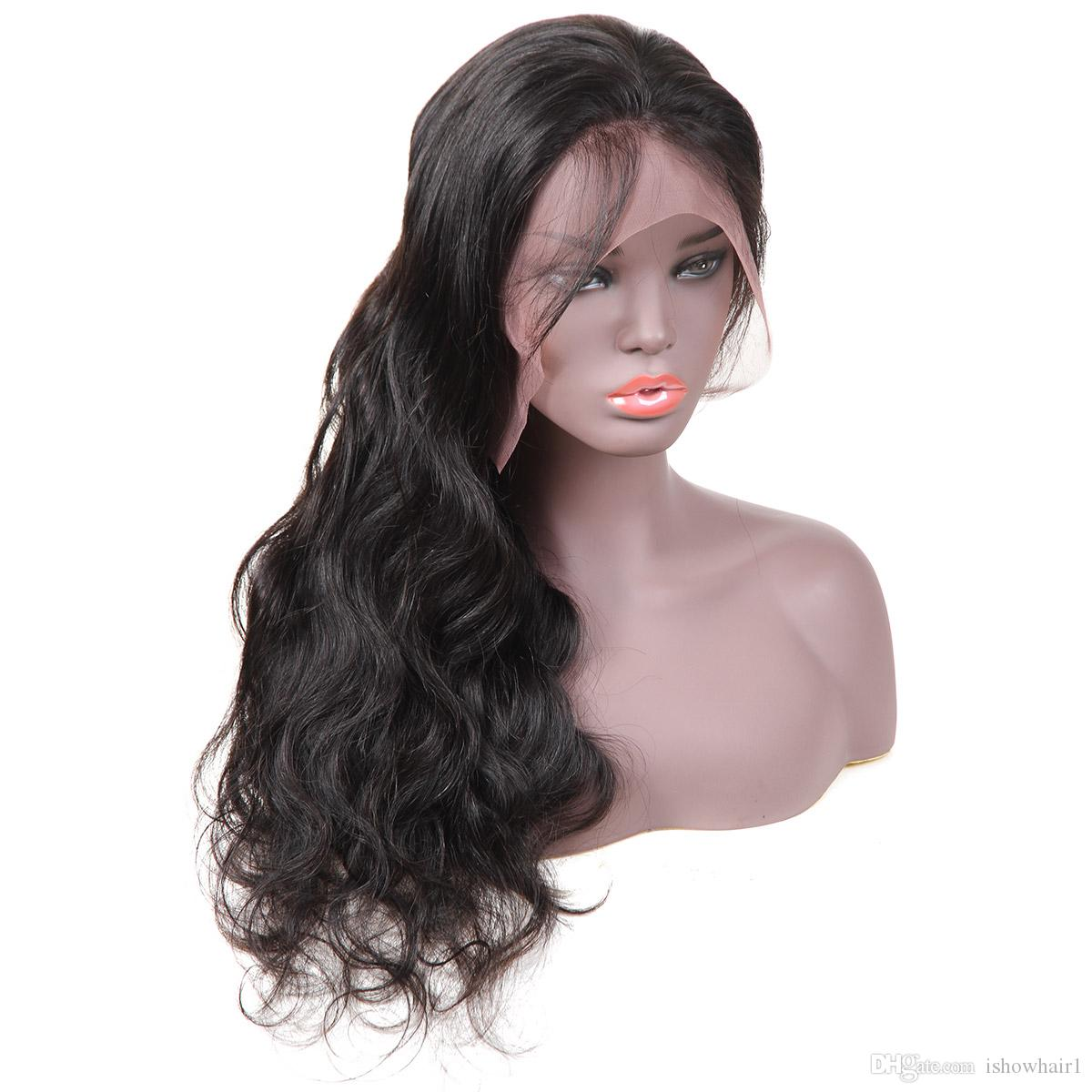 10A Body Wave Human Hair Lace Front Wigs 10-28inch Brazilian Hair Malaysian Medium Size Swiss Lace Cap Bleached Knots lace front wigs