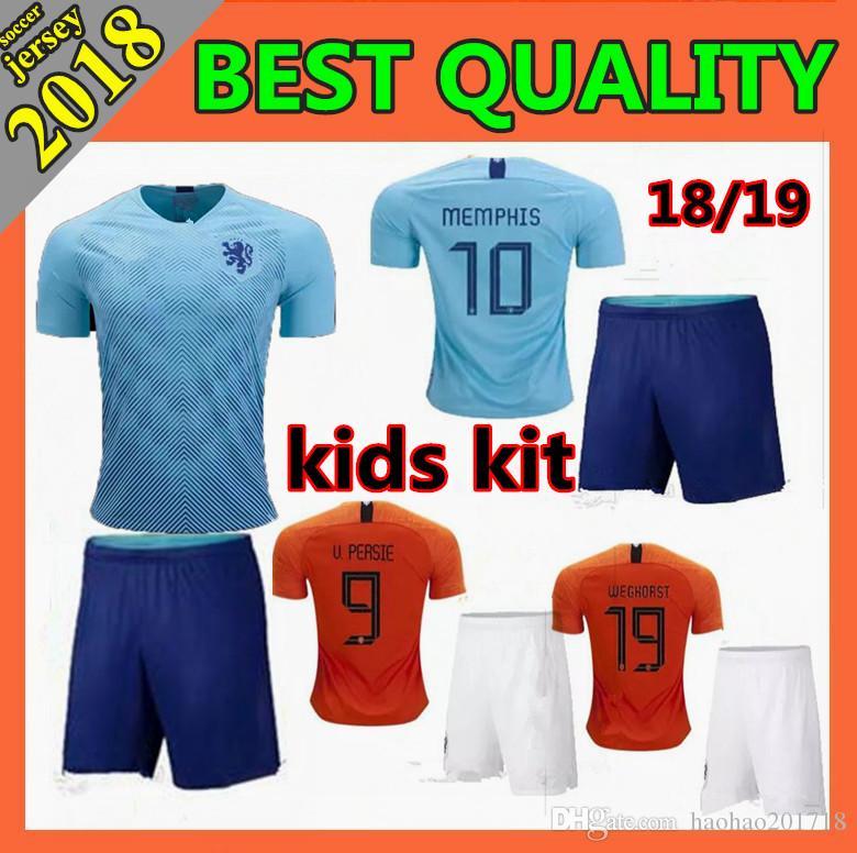 ae5da2e7729 2019 Kids Kit 2018 New Nederland Soccer Jersey 1819 Home Orange Netherlands  HOLLAND ROBBEN SNEIJDER V.Persie Dutch Away Football Shirts From  Haohao201718