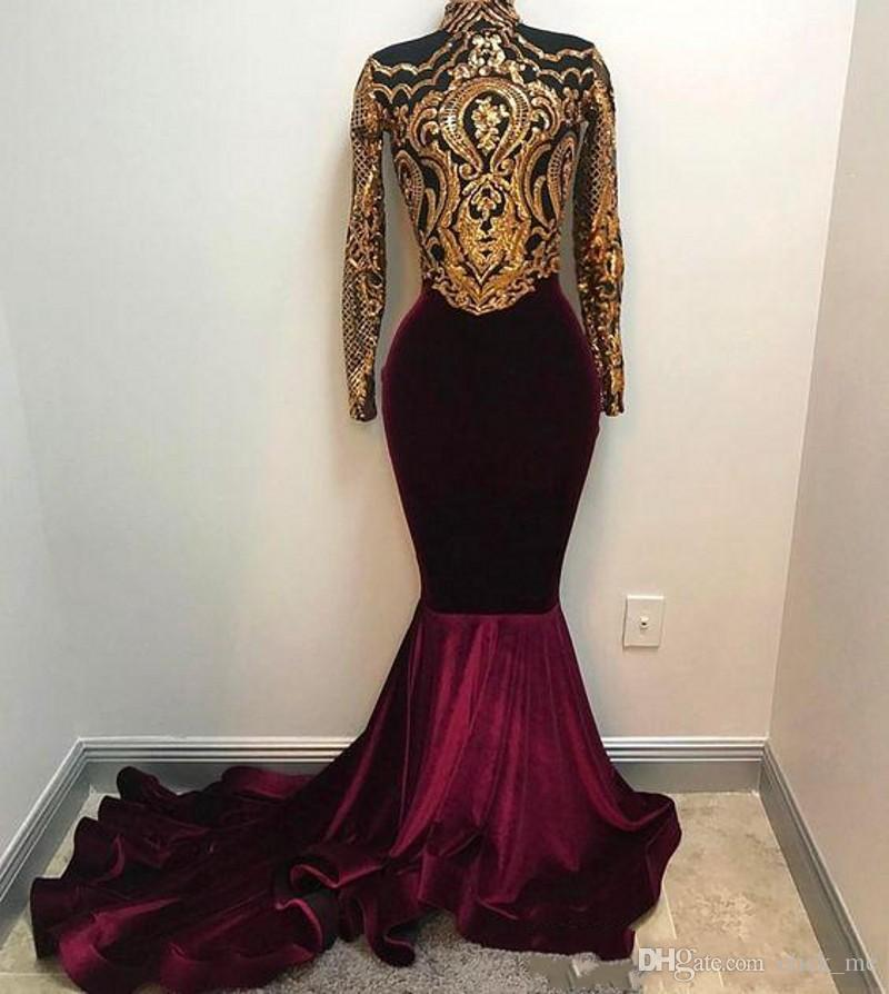 9b96a819396 African Velvet Prom Dresses With Gold Appliques High Neck Long Sleeves  Mermaid Evening Gowns Arabic Vintage Party Dress Dubai Vestidos Evening  Dresses Uk ...