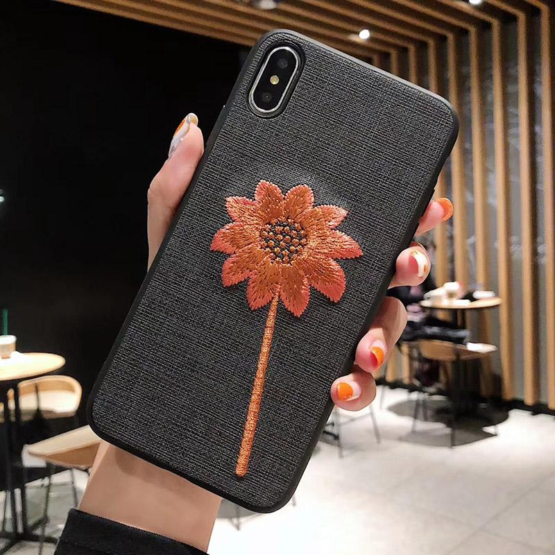 Wholesale Embroidered sunflower mobile phone case for iphone xsmax creative plum S8 S10 NOTE9 personality all-inclusive protective cover