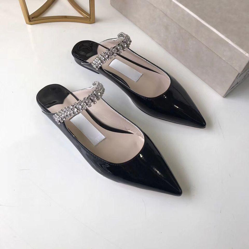 fa1c7f749fd22 Patent Leather Flat Sandal Women Stiletto High Heel Sandals Designer  Crystal Strap Mules Summer Women Pointed Slip On Flat Shoes