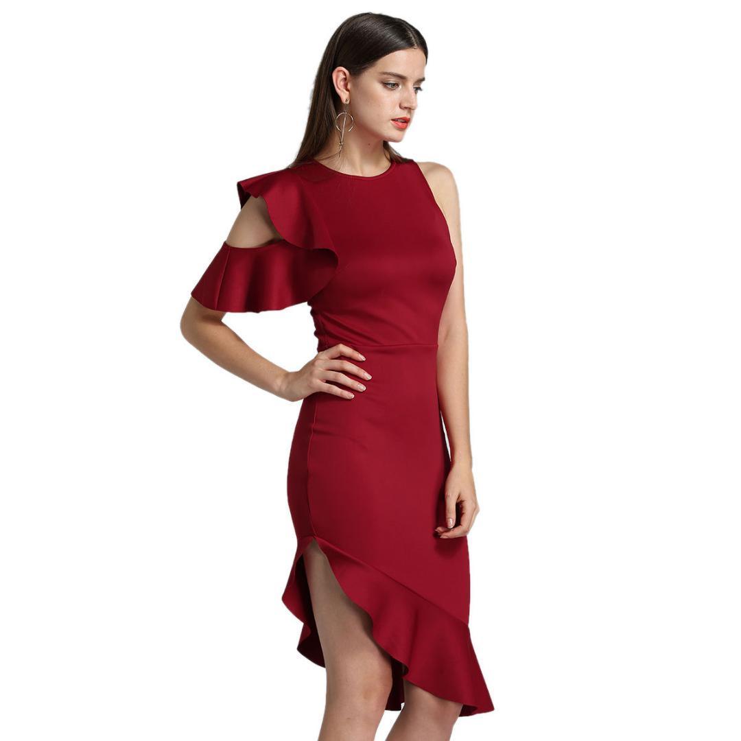 b9412d03bd894 Satın Al Ofis Bayan Kadın Elbise 2019 İlkbahar Yaz Ruffles Tek Omuz Kadın  Elbiseler O Boyun Diz Boyu Kadın Giyim 2019, $32.72   DHgate.Com'da