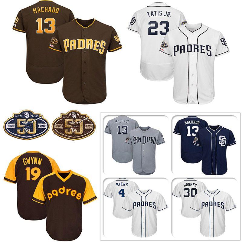 ded7b66a3 2019 Custom San Diego Mens Jersey Padres 50th Anniversary Patch Manny  Machado Fernando Tatis Jr. Eric Hosmer Tony Gwynn Knit Baseball Jerseys  From Wzhc001, ...