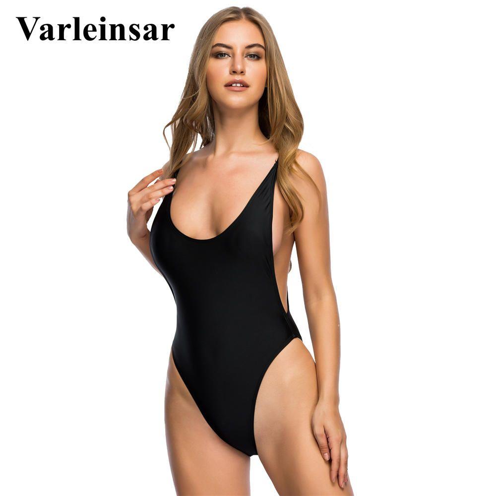 a307bb09c96c0 2019 Varleinsar 2017 S 2XL Sexy Black High Cut One Piece Swimsuit Plus Size  Swimwear Female Bathing Suit Swim Wear Monokini V113B From Mantle, ...