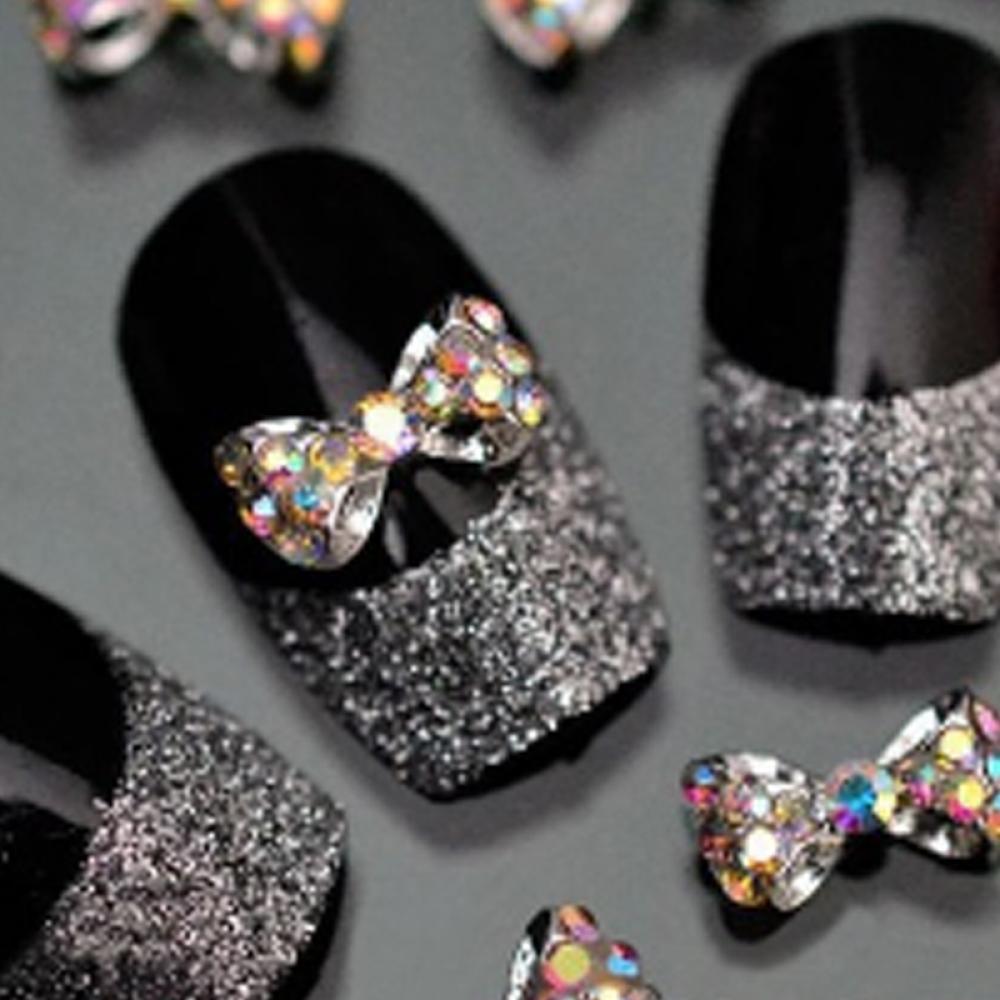 Bow Design Rhinestones Nails Accessories Manicure Metal Nail Art ...