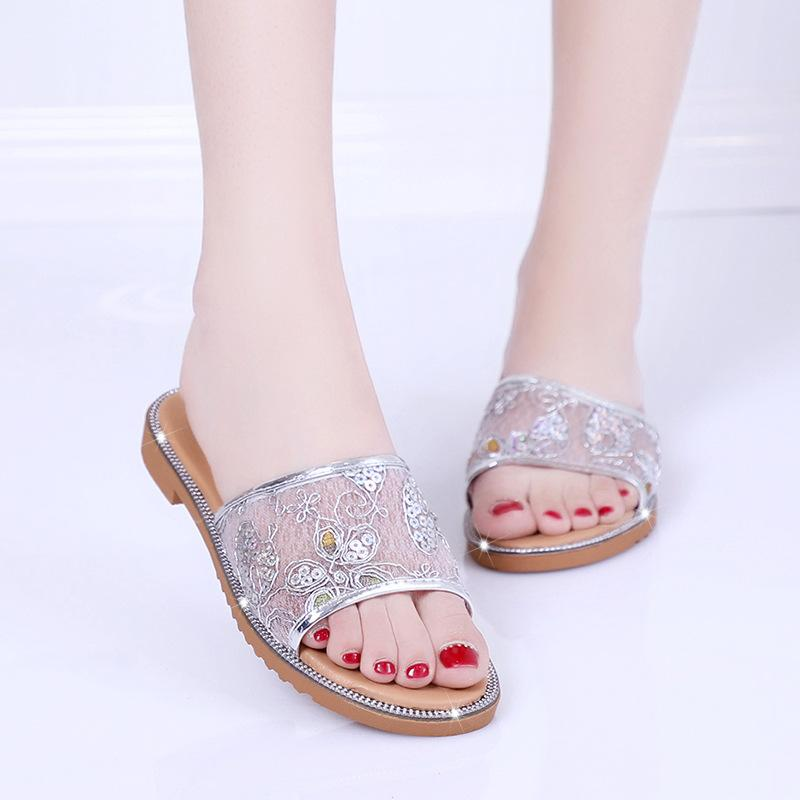 361ce25a5f074b Shoes For Women Sandals Net Yarn Bling Slippers Flip Flops Summer Style  Casual Shoes Woman Flats Female Slides Ladies Pink Shoes High Heel Boots  From Juiccy ...