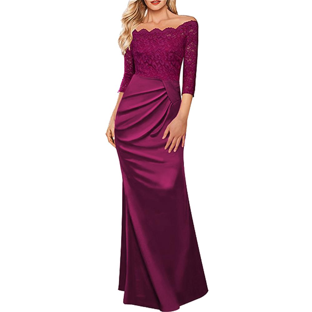 b9f91eea2780 2019 Womens Long Vintage Elegant Dress 2019 Sexy Lace 3 4 Sleeves Maxi  Wedding Bridesmaid Formal Dress Evening Party Cocktail Prom Gowns From  Clothes zone