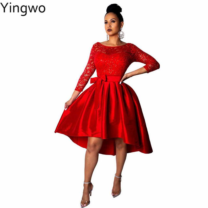 7712b87a8b3 Red/White Pearls Lace Tops Fit and Flare Dress Long Sleeve Bow Details Big  Swing Pleated Midi Dresses for Club Party Wear