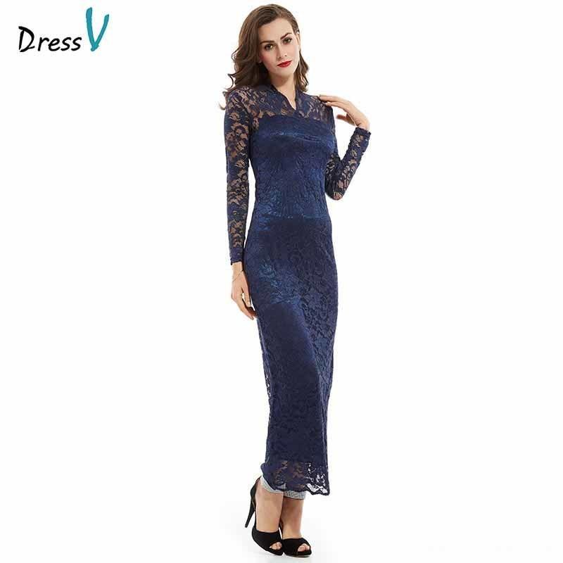 fa1d11979 Compre Dressv Oscuro Azul Real Barato Cuello En V Manga Larga Hasta El  Tobillo Banquete De Boda Vestido Formal De Encaje Vestidos De Noche  C18122201 A ...