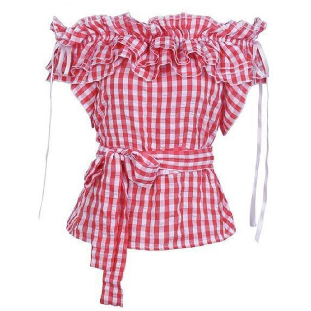 Women Vintage Plaid Blouse Top Sexy Off the Shoulder Ruffle Shirt With Belt Short Style Drawstring Summer Cropped Blouse Femme