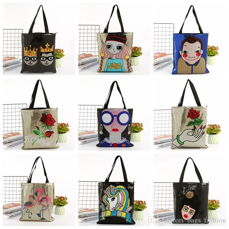 7527ce5c9b81 Women Sequin Bags Designer Fashion Shopping Transparent Handbag Ladies One  Shoulder Canvas Bags Female High Quality Bag Xmas Gifts Jute Bags  Drawstring Bags ...