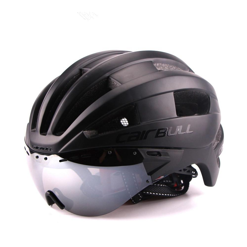 Ultra-light 235g Goggles Cycling Helmet Road Mountain MTB Bicycle Helmet In-mold Bike Helmet With Sun Visor Helmet M54-58cm (5)_