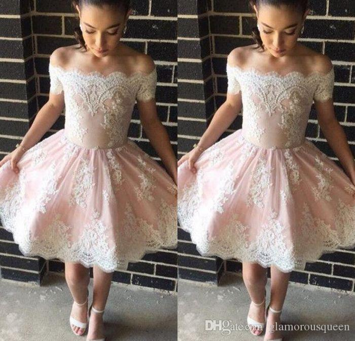 d0c9c582246 Fast Delivery A Line Off The Shoulder Knee Length Tulle Appliques Cocktail Dresses  Modest Popular Sexy Short Homecoming Prom Dresses Cocktail Dress For Men ...
