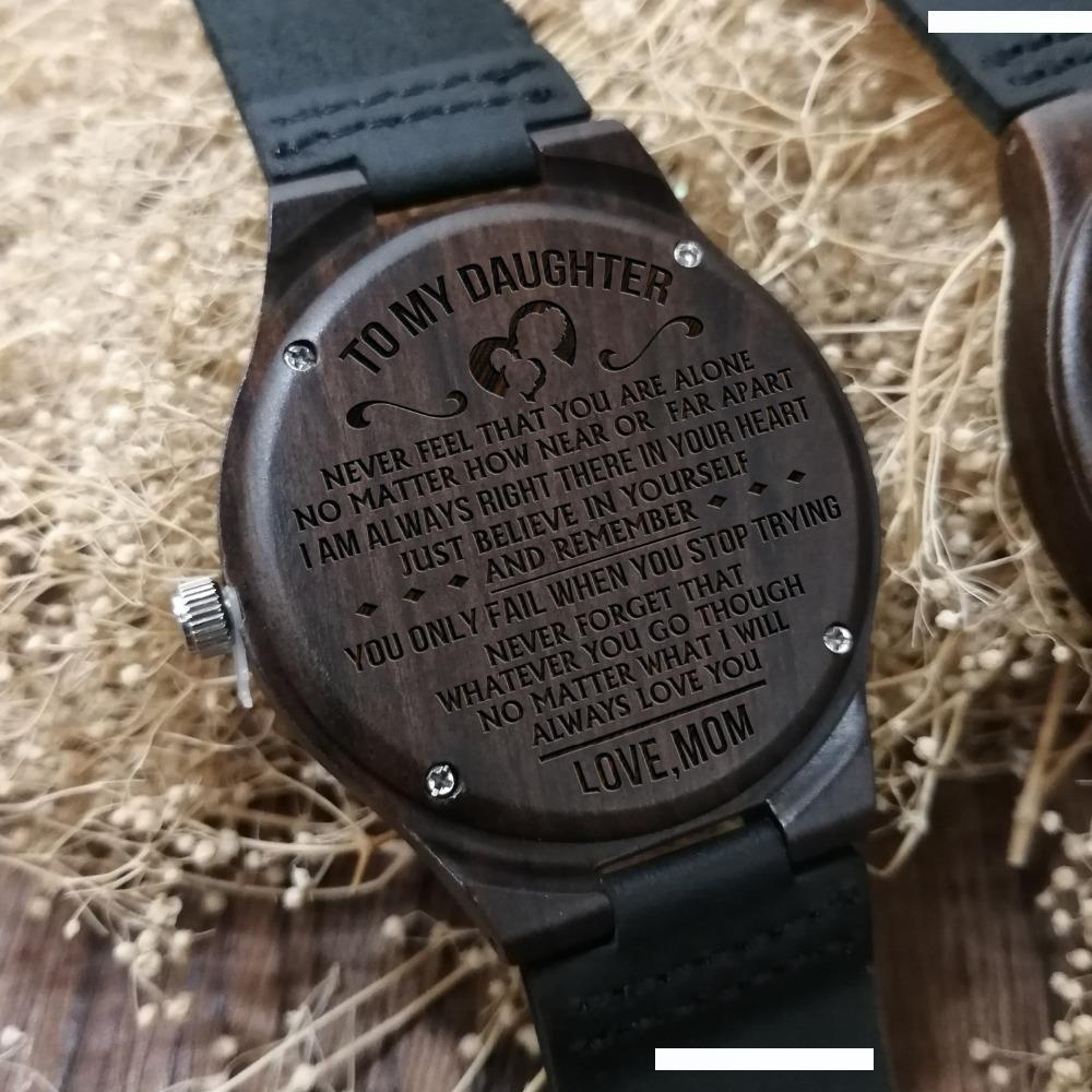 JUST GO FORTH AND AIM FOR THE SKIES - FROM MOM AND DAD TO OUR DAUGHTER ENGRAVED WOODEN WATCH