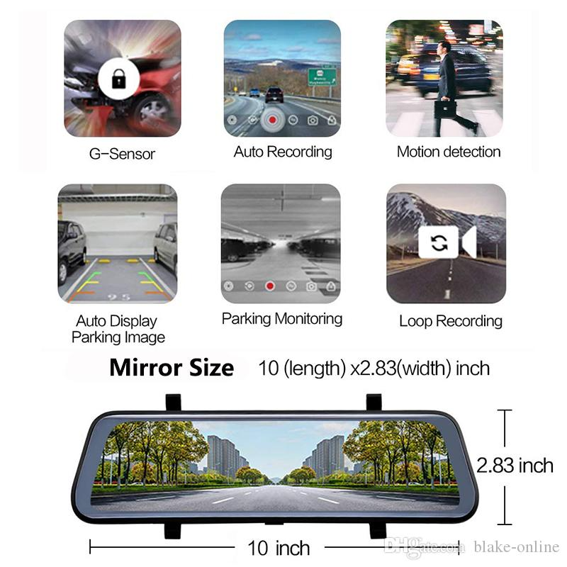 10 inch HD 1080P Car DVR Stream Media Truck Rear View Mirror, Dual Lens Reverse Backup Camera,Dash Camcorders With 16GB Micro SD
