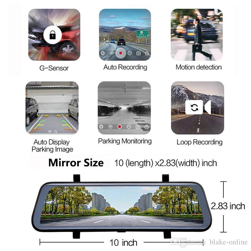 10-Zoll-HD-2K-Auto-DVR-Rückfahr-Spiegel-Videorecorder, Dual-Objektiv-Reverse-Backup-Kamera 1080p-Dash-Camcorder mit 32 GB Micro SD-Karte