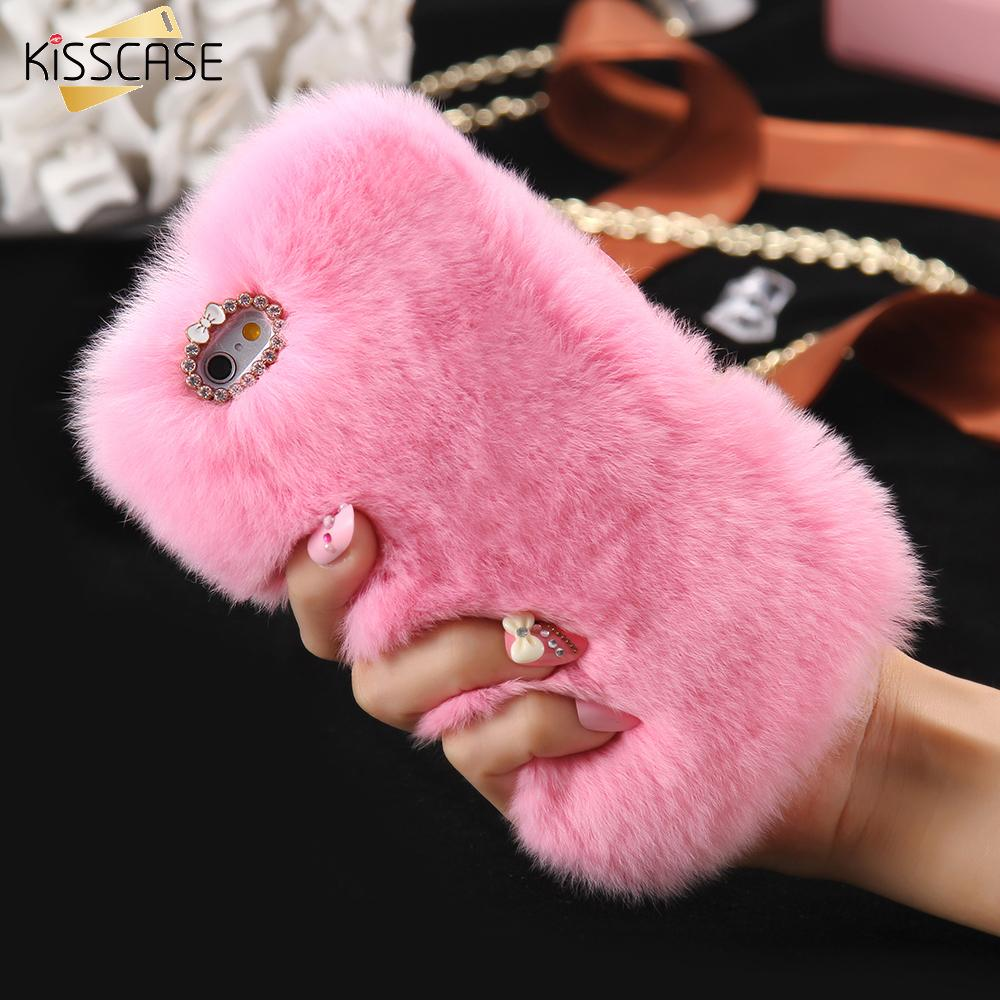 new products 3c3b9 68b01 KISSCASE Rabbit Hair Phone Case For iPhone 6 6s 7 8 Plus Rhinestone Fur  Fluffy Cases For iPhone X 5s 5 SE Accessories Capinhas
