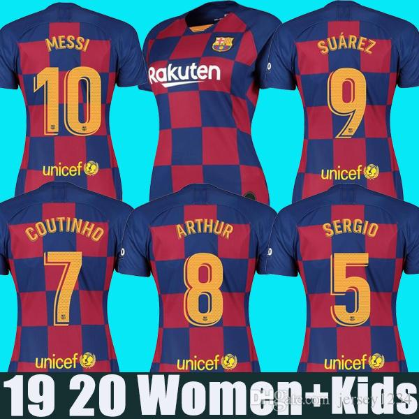 quality design 9b196 7cb40 2019 2020 barcelona Jersey 10 MESSI GRIEZMANN soccer jerseys DE JONG 9  SUAREZ 23 MUTITI football shirt new 19 20 women kids kit uniform