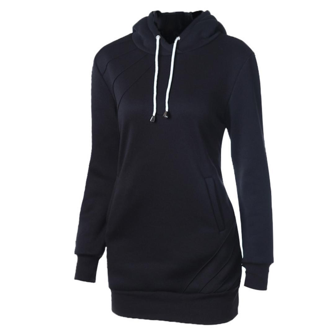 ab67455754c9d Sweat à capuche d'hiver pour femmes Sweat à capuche noir Pull ...