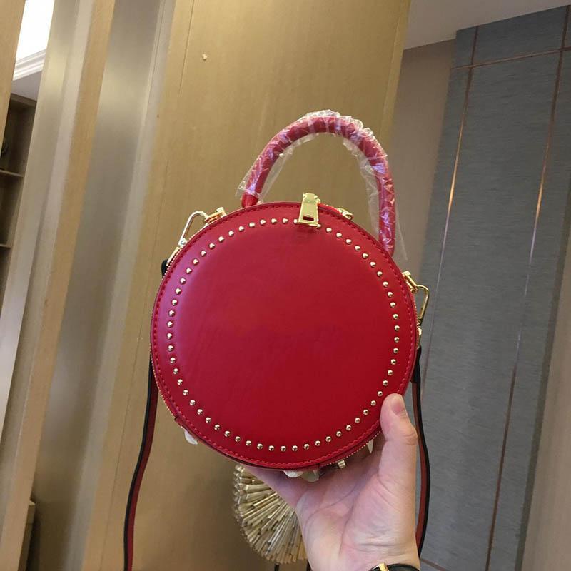8667d38719 Womens Luxury Small Round Shoulder Bags Triple Black White Red Leather  Handbags Lady Fashion Handbag Chain Mini Dress Totes with box