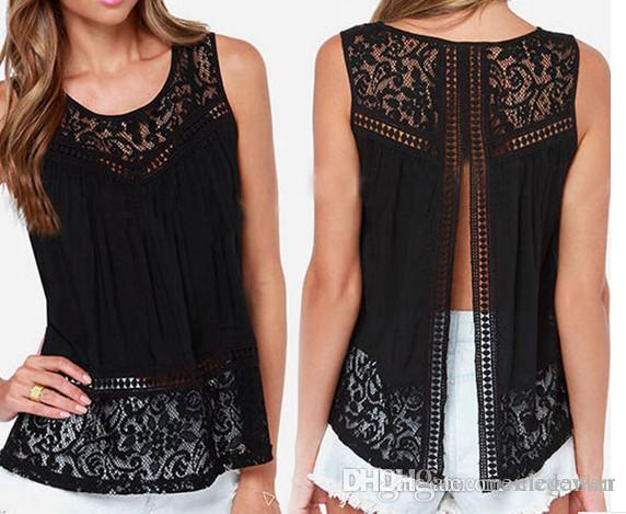 c67c23f13 Lace Hollow Out Sleeveless T Shirt 2 Colours 2017 Summer Women Lace Blouses  Tops T Shirts Plus Size LM 169 Printed T Shirts Funny T Shirt Over Shirt  From ...