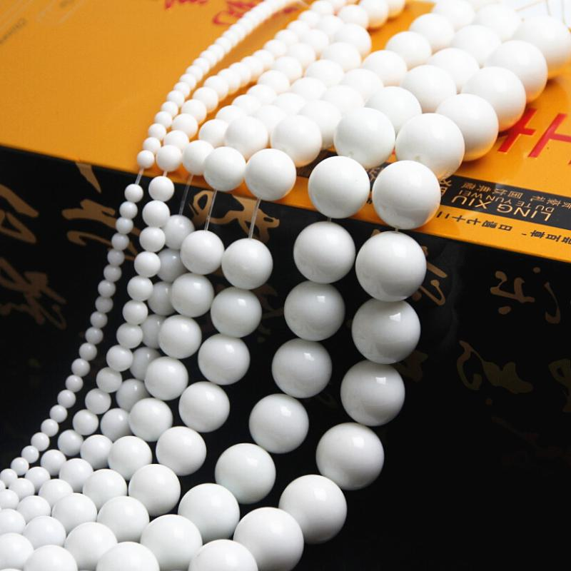 loose 4-12mm Natural Stone beads White Round Stone Loose Beading for jewelry making Jewellery DIY