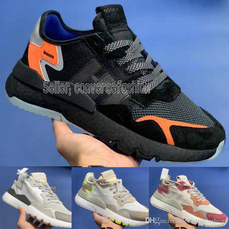 5482d7c2e836d Compre Adidas Chegada Nova Original 2019 Adidas Nite Jogger Pipoca Alta  Elastic Running Shoes Para Alta Qualidade Triplo S Homens Ao Ar Livre Tênis  ...