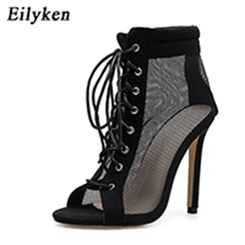 9405efb03 Eilyken Fashion Women Boots Sexy Peep Toe Lace Up Black Orange Mesh High Heels  Women Ankle Boots Sandals Size 35 40 Skechers Boots Mid Calf Boots From ...