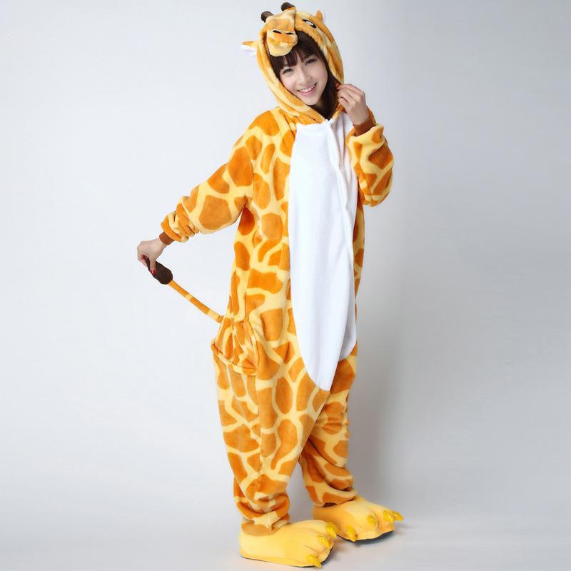 0aaba4bc0f 2019 Flannel Giraffe Kigurumi Animal Jumpsuit For Adult Onesie Pajamas Kids  One Piece Sleepwear Pyjamas Cosplay Carvinal Party From Home5