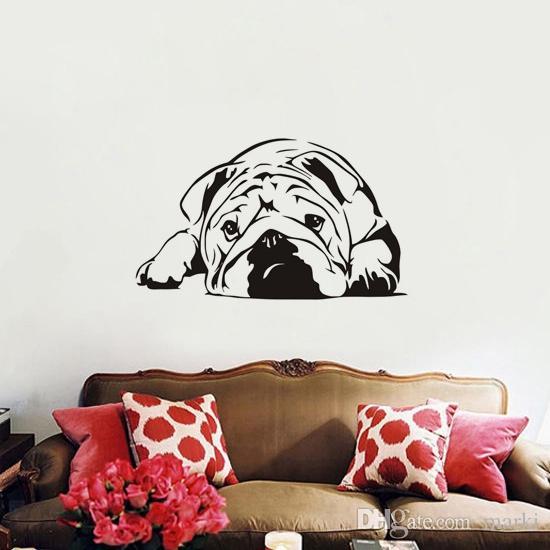 Für Kinderzimmer Schlafzimmer Dekor hund tier Wandkunst Dekoration Englisch  Bulldog Wandaufkleber Abnehmbare Tapete wn638