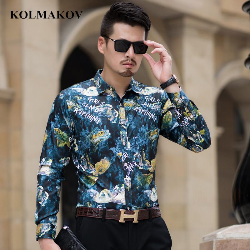 c92b729f155 KOLMAKOV New Men s Shirts High Quality Long Sleeve Shirt Mens Social ...
