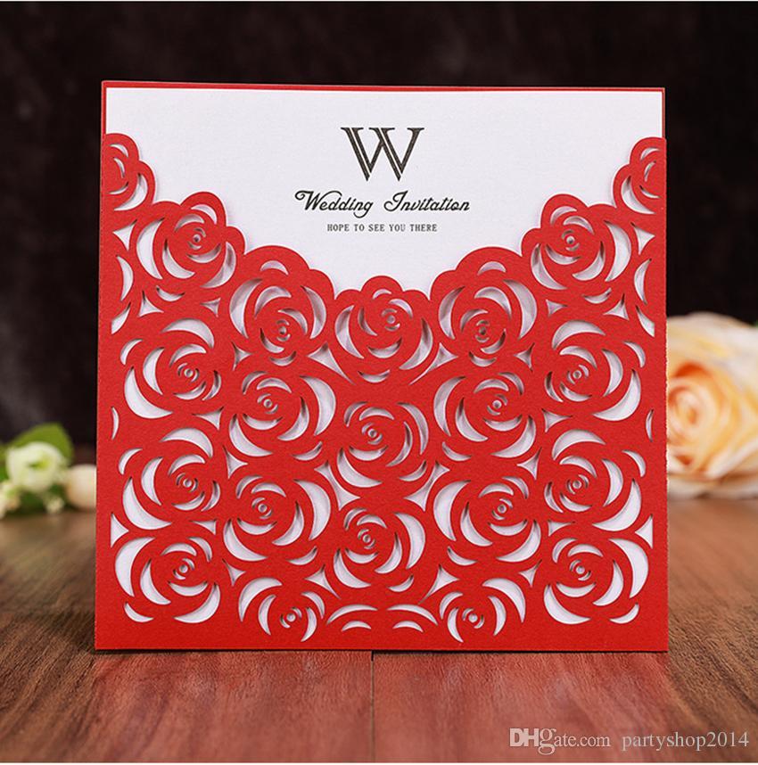 Carlson Craft Pocket Wedding Invitations: Customize Wedding Invitation Cards Lace Hollow White