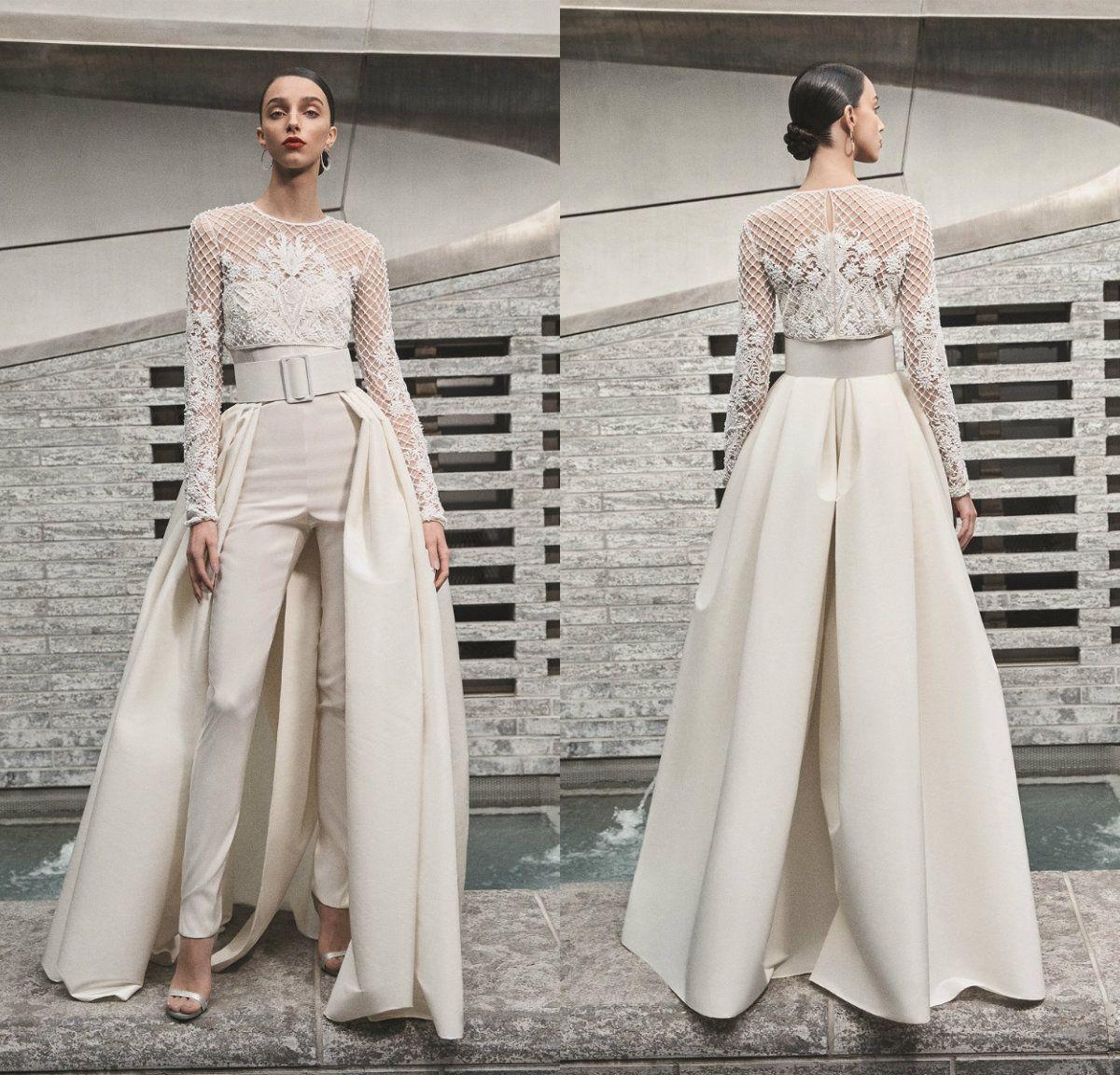 2019 Naeem Khan Plage Robes De Mariee Femmes Combinaisons Avec Jupe Amovible Mat Satin Sweetheart Pays Robes De Mariee Avec Veste