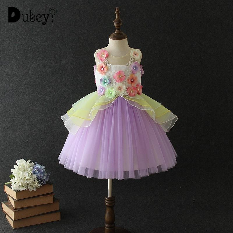 51cef66135df1 New Colorful Lace Princess Tutu Dress Flower Girl Rainbow Color Tulle  Costumes Elegant Teenager Girls Evening Party Dress