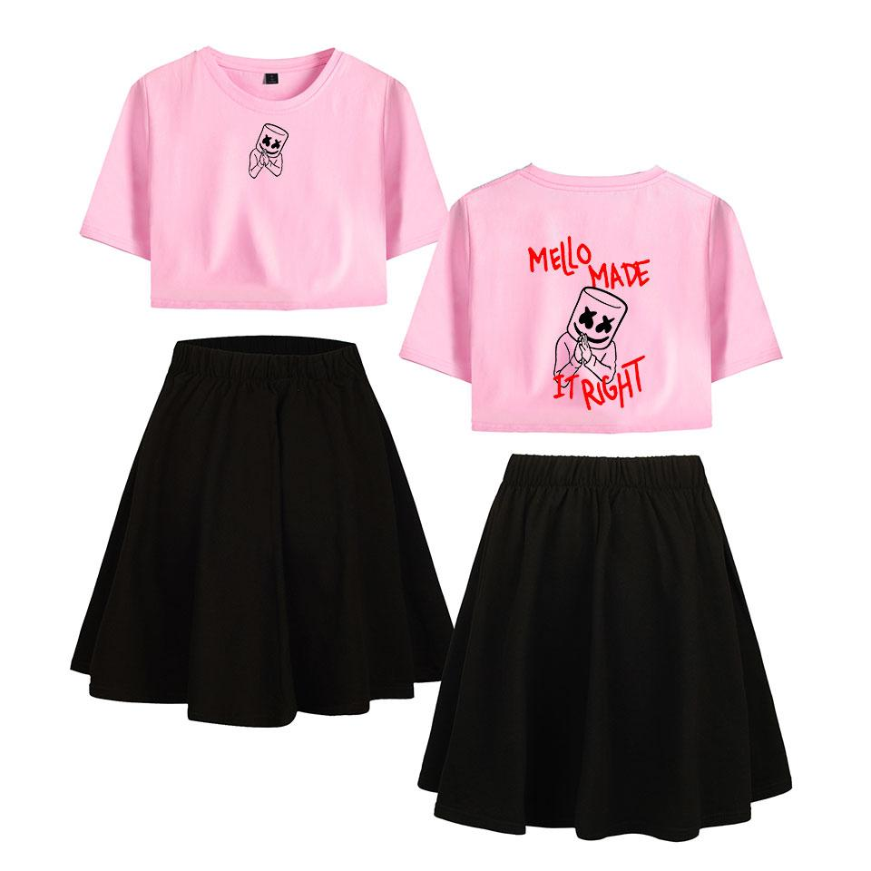 185f15e457294 2019 Marshmello Stylish Two Piece Skirts Sets Printed Sexy 2019 New Style  Women S Fashion Summer Shorts Crop Tops+Shorts Skirts Set From Hiverc