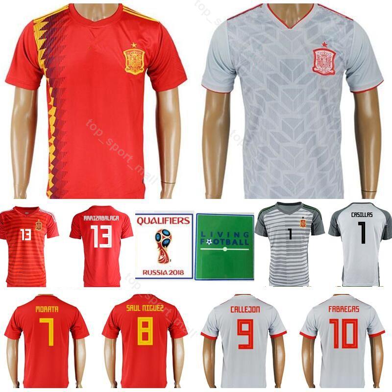 sale retailer 5b6c6 dc71d 2018 2019 Spain 7 DAVID VILLA Jersey Soccer 7 MORATA 8 XAVI 9 TORRES 10  FABREGAS Football Shirt Kits Uniform Custom Name Number