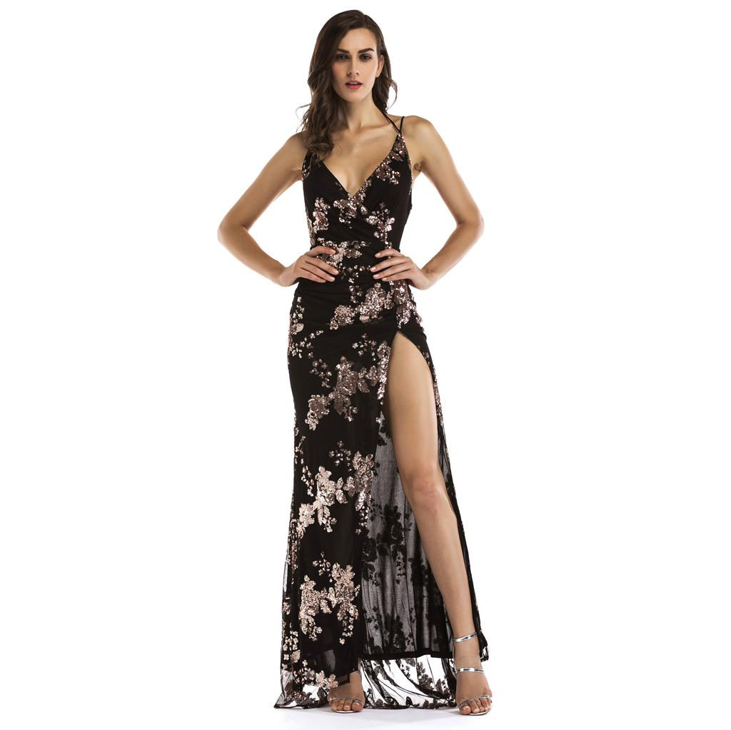 b53cd9fb389 Sexy Women V Neck Sleeveless Camis Slim Maxi Sequin Halter Backless Party  Split Cocktail Prom Gown Long Dress Buy Dresses Online Evening Wear From  Laftfly
