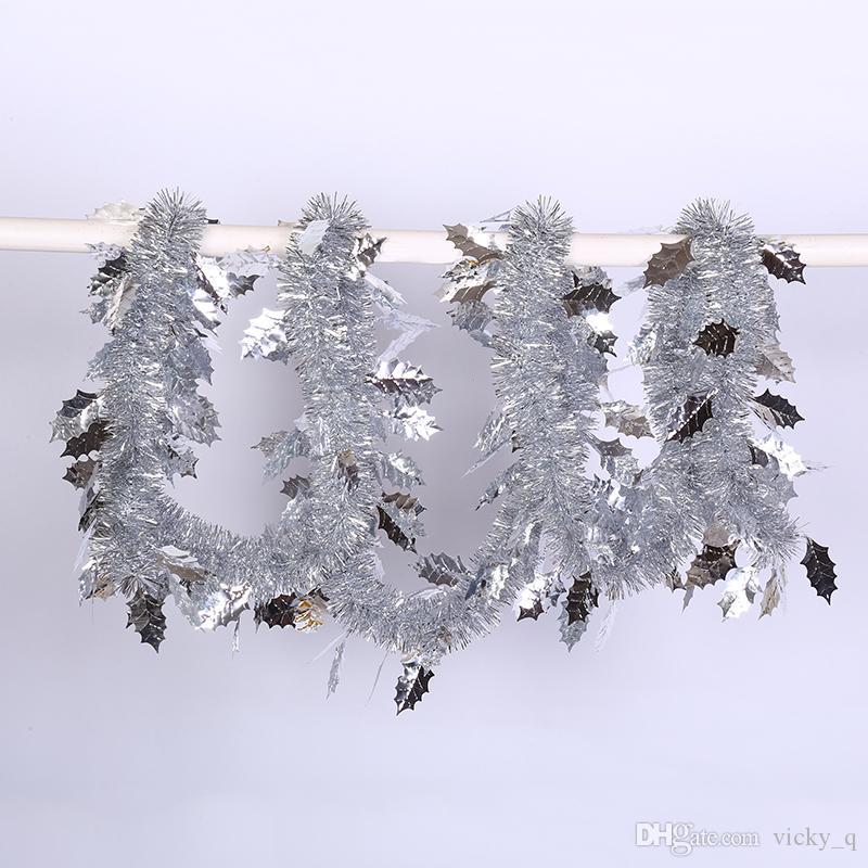 Largeur 5 cm Pure Color avec Feuille Tinsel Bannière Guirlande Décoration pour la Fête De Noël Maison Jardin Suspendu Arbre De Noël Fournitures