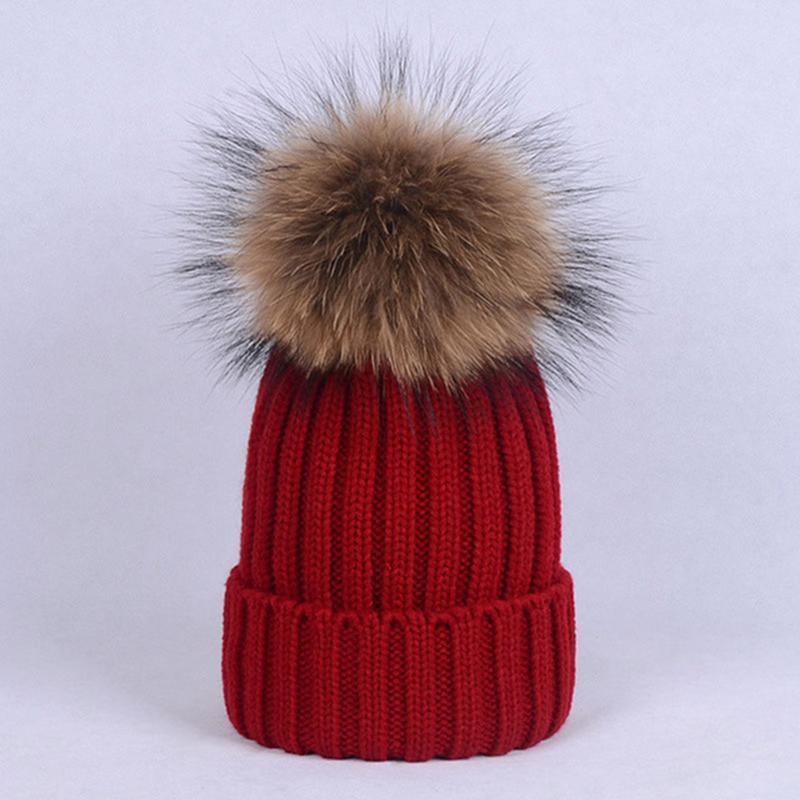 d85ecdeb058 Women 100% Natural Fox Raccoon Fur Hats Big Ball Fluffy Pompon ...