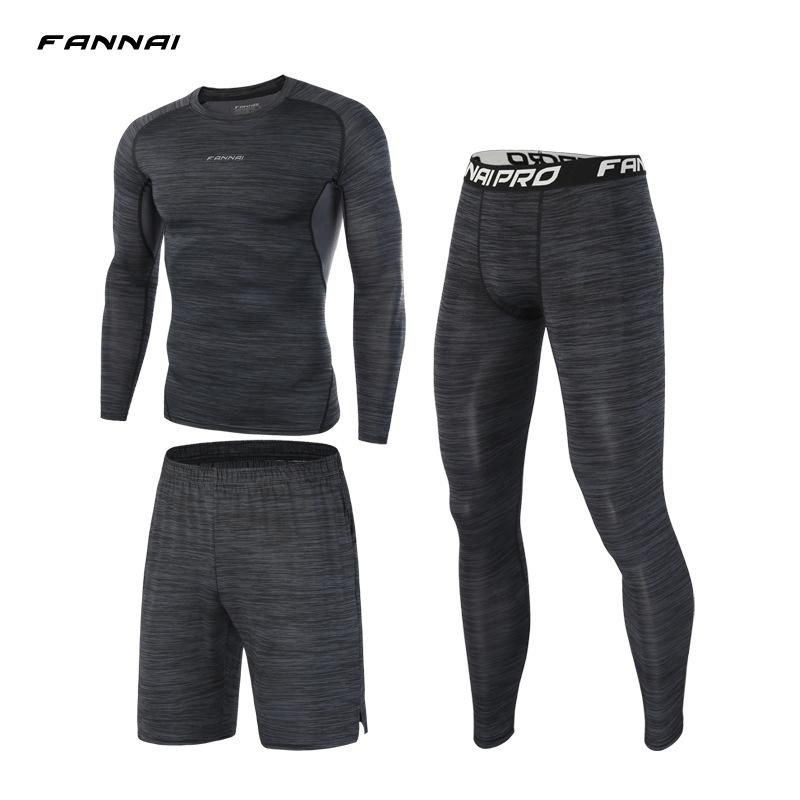 FANNAI Compression Mens Sport Suits Workout Running Sets Clothing Sports Joggers Training Gym Fitness Tracksuits Running Set