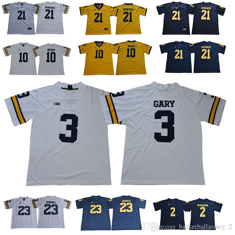 180a43855 Michigan Wolverines 10 Brady Jersey 2 Woodson 3 Rashan Gary 12 Chris ...