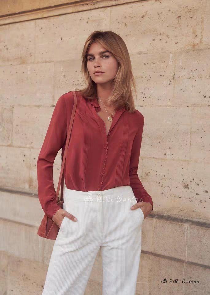 official photos ba7cc a6888 Camicia donna 2019 Retro in seta color merino con collo scamosciato