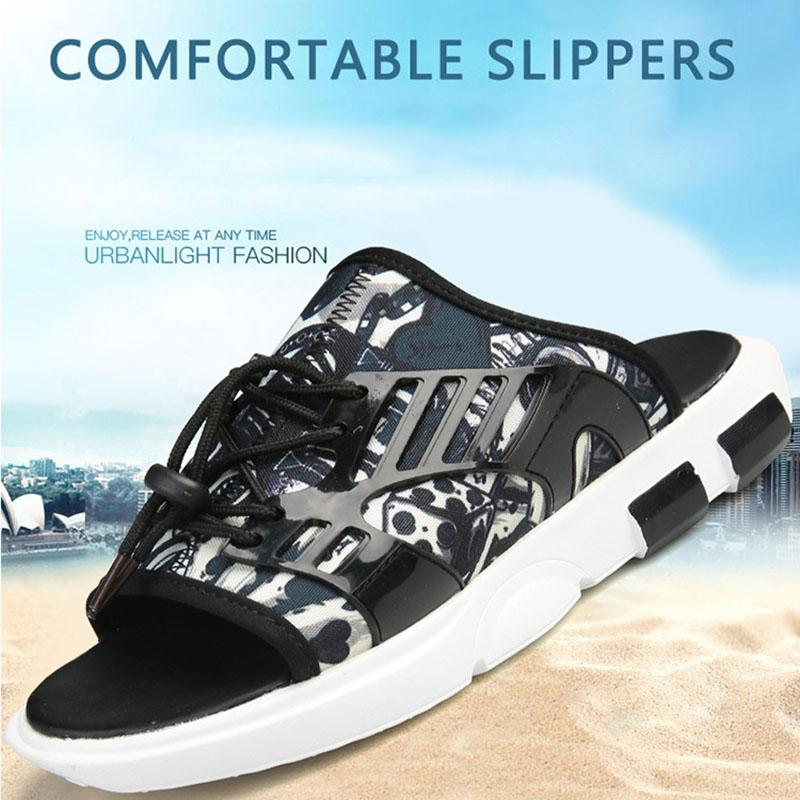 Newly Men Casual Slippers Open Toe Anti-slip Wear-resistant Soft Breathable Shoes for Summer K-BEST