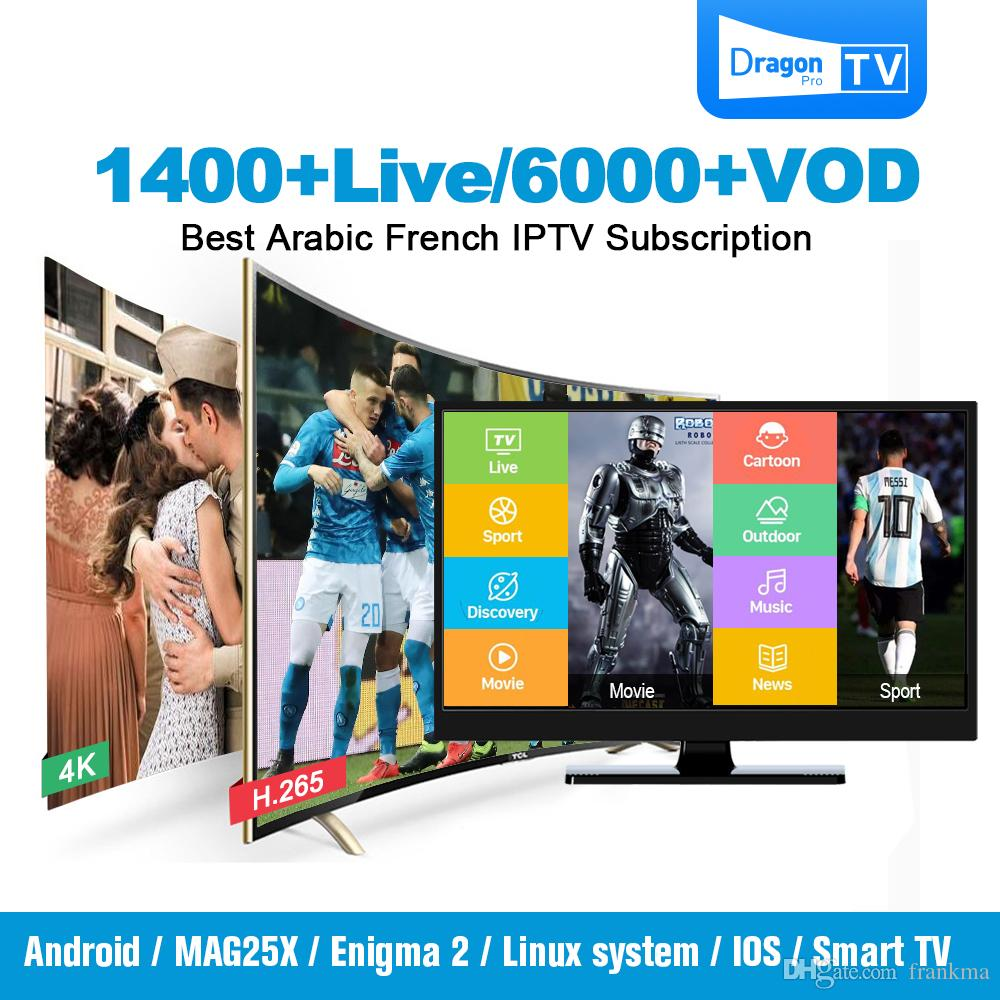Drgaon Pro IPTV Subscription Support Android TV Box Smart TV Mag 250 M3u  With 1400+ Live 6000+ VOD For France Italy UK Arab Belgium IPTV Box