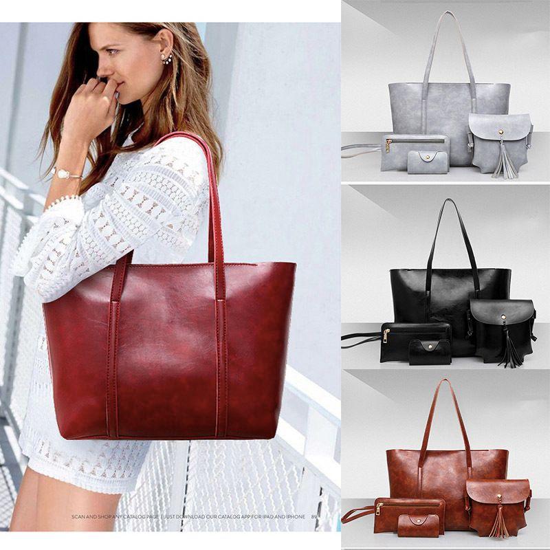 a44849a68ae9 New Women Bags Set Leather Handbag Casual Shopping Bags Ladies Brand Designer  Bag Handbag+Messenger Bag+Purse Cheap Purses Handbags For Women From  Jumpmen06 ...